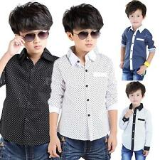 Fashion Baby Kid Boy Polka Dot T-Shirt Blouse Boy Lapel Shirt Tops Outwear Shirt