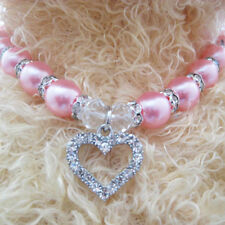 Crystal Dog Cat Necklace Pet Heart Jewelry Pearls Necklace Collar Charm Pendant
