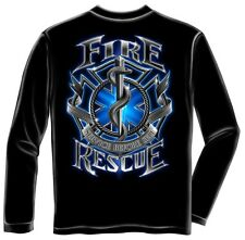 Erazor Bits Long Sleeve T-Shirt - Fire Fighter - Firefighter Fire Rescue- Black