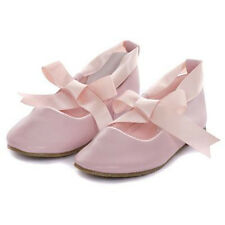 PINK Ballerina Shoes Ballet Flower Girl Ribbon Tie Baptism Holy Communion Flats