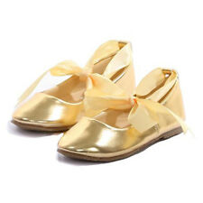 GOLD Ballerina Shoes Ballet Flower Girl Ribbon Tie Baptism Holy Communion Flats
