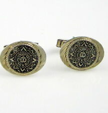 Estate Vintage Sterling Silver MEXICO Aztec Calender Eagle Cuff Links Cufflinks