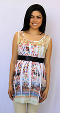 White Lace With Black Ribbon Maternity Blouse Womens Sleeveless Top S M L XL
