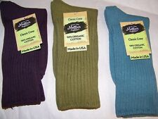 Crew Socks Organic Cotton Solid Color Single Pair Mid-Calf  SIZE 9-11