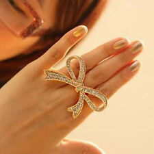 Chic Cute Crystal Big Bowknot Design Finger Ring Adjustable Women Lady Jewelry