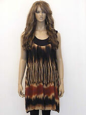 New womens black, stone and rust double layered long plus size tunic top 16-26