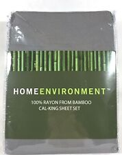 $350 Home Environment 100% Bamboo Twill X-DP Sheet Set Queen King Charcoal Gray