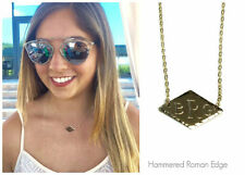 Engraved Monogram Geometric Diamond Initial Necklace, 14kt Gold Filled or Silver