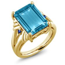 9.74 Ct Swiss Blue Topaz Blue Sapphire 18K Yellow Gold Plated Silver Ring