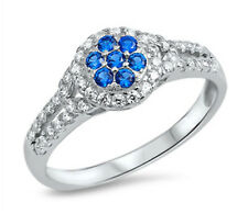 .925 Sterling Silver ROUND PAVE SET BLUE SAPPHIRE CLEAR CZ ENGAGEMENT RING 5-10
