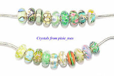 Shades of Green - Murano Glass Charm Bead Big Hole, fit European Bracelet