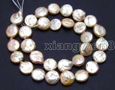 "SALE Big 14-15mm COIN Natural Pink high quality Freshwater PEARL strands14""-l120"