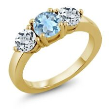 1.95 Ct Round Sky Blue Aquamarine White Topaz 18K Yellow Gold Plated Silver Ring