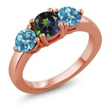 2.20 Ct Green Mystic Topaz Swiss Blue Topaz 18K Rose Gold Plated Silver Ring