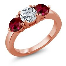 2.20 Ct Round White Topaz Red Created Ruby 18K Rose Gold Plated Silver Ring