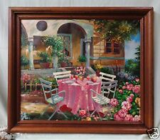 """Canvas Oil Painting """"Outdoor Dining Area"""" w. Nice Vintage Wooden Frame 26x30"""""""