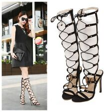 Chic Sexy Women's Cut Out Lace Up Suede High Heels Shoes Sandals Stilettos Boots