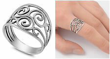 Sterling Silver 925 SCROLL FILIGREE BAND DESIGN SILVER RING 15MM SIZES 4-13