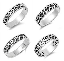 Sterling Silver 925 PRETTY LADIES MENS CELTIC BAND DESIGN SILVER RINGS SIZE 5-14