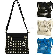 Women Faux Leather Gothic Punk Rock Messenger Cross-body Studded Shoulder Bag