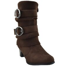 Kids Knitted Calf Mid Calf Boots and Suede Double Adjustable Side Buckles Brown