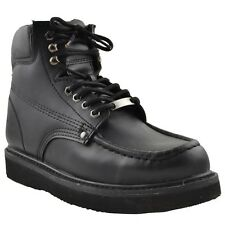 Mens Work Boots Oil Resistant Stitched Genuine Leather Hiking Padded Shoes Black