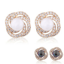 Nice jewlery 18K Gold Filled Swarovski Crystal Special lady pearl stud earrings
