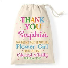 Personalised wedding day thank you favour gift bag flower girl/bridesmaid colour