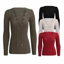 NEW WOMENS LADIES LONG SLEEVE LACE UP V NECK KNITTED JUMPER CASUAL WINTER TOP