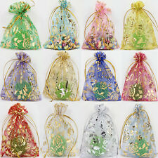 100Pcs Rose Gauze Organza Wedding Favors Party Candy Gift Bags Pouches 18x13CM