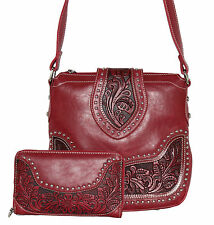 Concealed Carry Purse - Montana West Tooled Cross Body Gun Holster Bag w/ Wallet