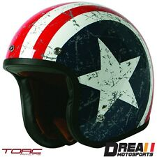 TORC T50 REBEL STAR GLOSSY WHITE RED OPEN FACE MOTORCYCLE HELMET DOT XS - XXL