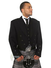 PRINCE CHARLIE SCOTTISH WOOL KILT JACKET & VEST - BLACK BUTTONS - CHEST 52""