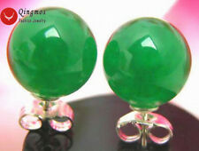 SALE Big 9-10mm Green Natural High Quality Round Jade silver stud earring-ear129