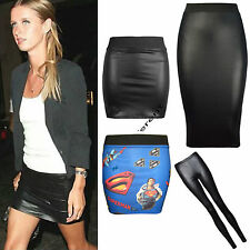 Ladies Elasticated Waist Band Wet Look PVC Shiny Leather Look Short Mini Skirt