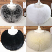 Women Faux Fox Fur Collar Cape Neck Warmer Wrap Fluffy Scarf Shawl Neckerchief