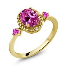 1.82 Ct Pink Created Sapphire Pink Sapphire 18K Yellow Gold Plated Silver Ring