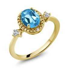 1.47 Ct Oval Swiss Blue Topaz White Topaz 18K Yellow Gold Plated Silver Ring