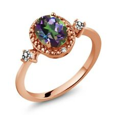1.44 Ct Oval Green Mystic Topaz White Diamond 18K Rose Gold Plated Silver Ring