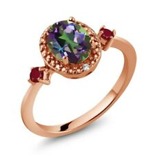 1.55 Ct Oval Green Mystic Topaz Red Ruby 18K Rose Gold Plated Silver Ring