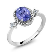 1.33 Ct Oval Tanzanite White Topaz 925 Sterling Silver Ring With Accent Diamond