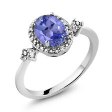 1.24 Ct Oval Blue Tanzanite AAAA 925 Sterling Silver Ring With Accent Diamond
