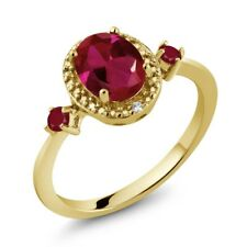 1.40 Ct Oval Red Created Ruby Red Ruby 18K Yellow Gold Plated Silver Ring