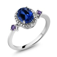 Simulated Sapphire and Amethyst 925 Sterling Silver Ring With Accent Diamond