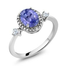 1.21 Ct Oval Blue Tanzanite AAAA 925 Sterling Silver Ring With Accent Diamond