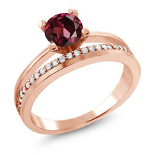 1.25 Ct Round Red Rhodolite Garnet 18K Rose Gold Plated Silver Ring