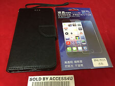 BLACK LEATHER FLIP COVER WALLET CASE & CLEAR SCREEN PROTECTOR FOR IPHONE 6S PLUS