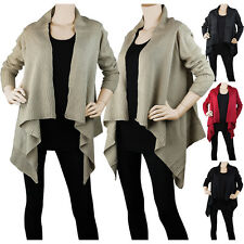 Women Open Front Cardigan Sweater Long Sleeve Knit Jacket Coat Loose Irregular