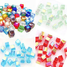 New Faceted Square Cube Glass Crystal Loose Spacer Beads Charm Finding 50/100Pcs