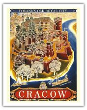 Cracow Poland Old Royal City Vintage World Travel Art Poster Print Giclee